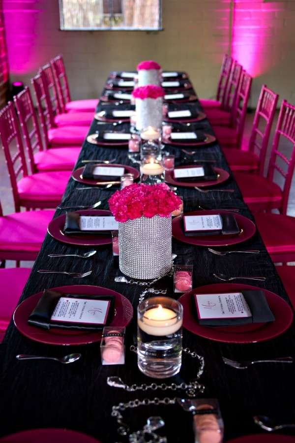 Hot Pink Black White And Sparkles Birthday Party Ideas Photo 15