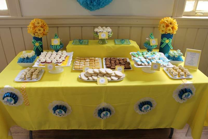 blue and yellow baby shower party ideas photo 2 of 17 catch my