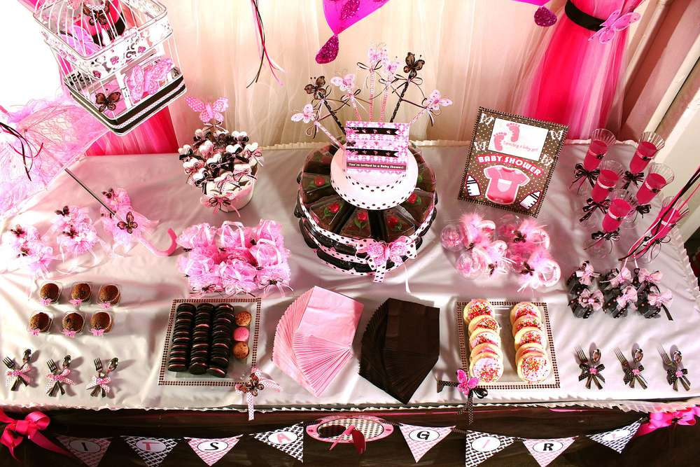 Pink And Brown Butterfly Baby Shower Party Ideas Photo 5 Of 19