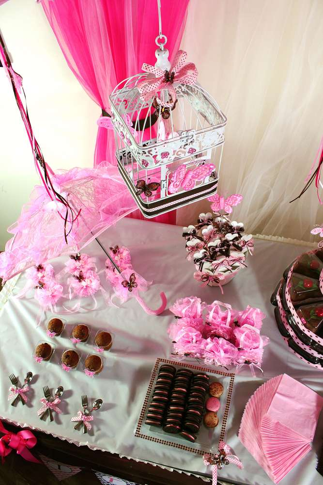 Pink and brown baby shower ideas