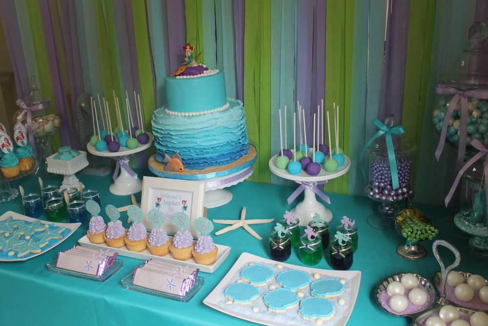 The little mermaid birthday party ideas photo 2 of 30 for Ariel birthday decoration ideas