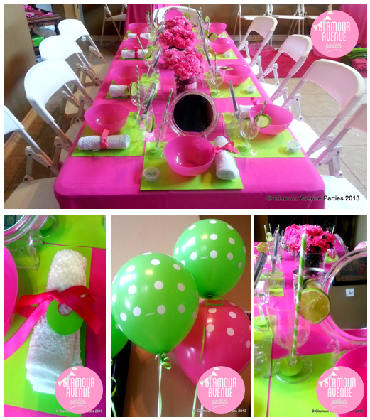 Spa party birthday party ideas photo 1 of 37 catch my for Balloon decoration color combinations