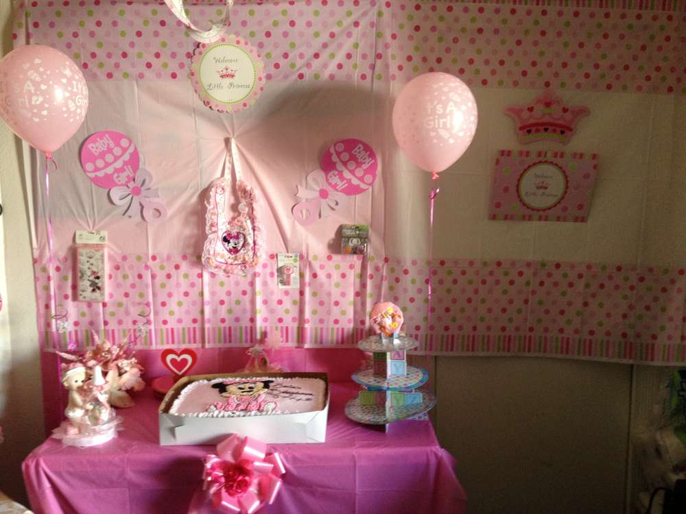 minnie mouse is a new little princess baby shower party ideas photo
