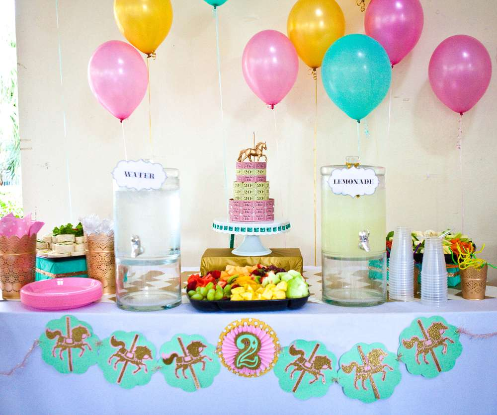 Carousel Pink Gold And Mint Green Birthday Party Ideas