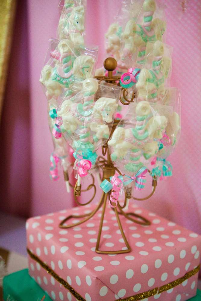 Carousel pink gold and mint green birthday party ideas for 2nd birthday decoration