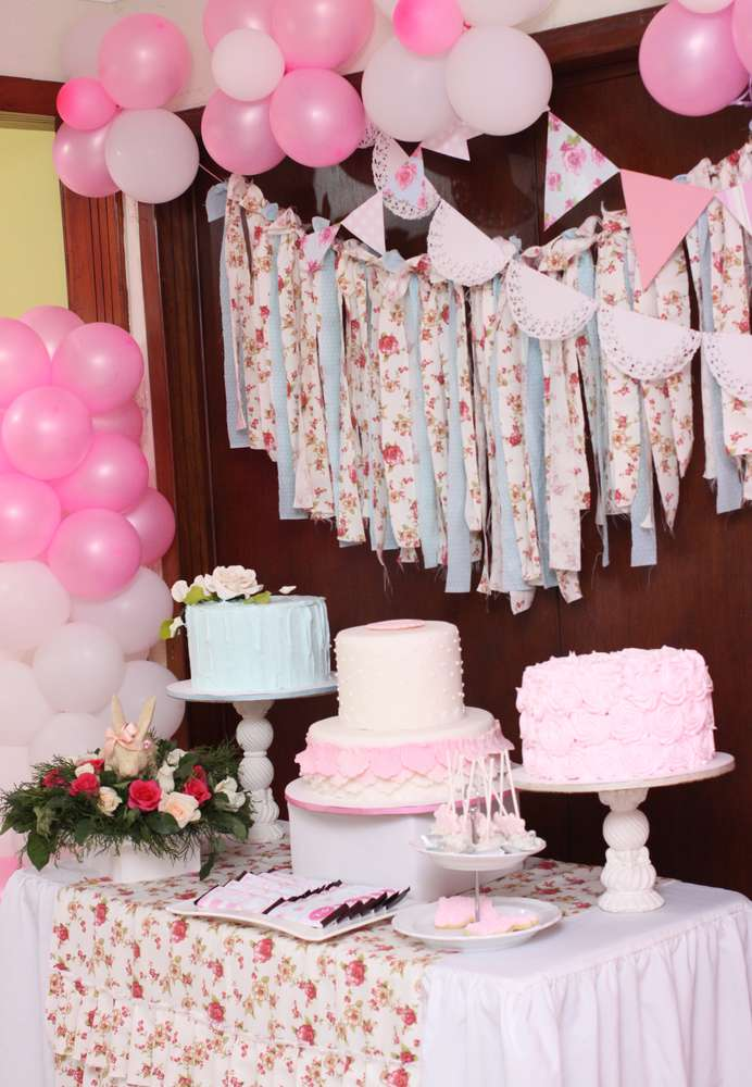 Bunny Shabby Chic Birthday Party Ideas Photo 1 Of 55 Catch My Party