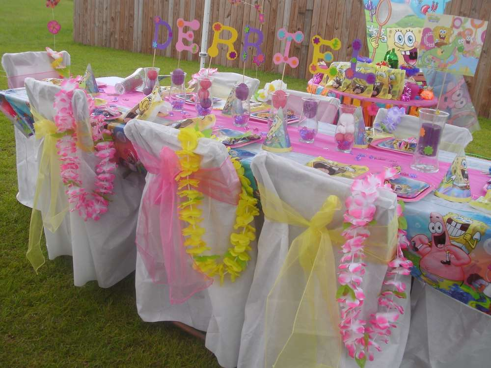 Spongebob luau theme birthday party ideas photo 4 of 6 for 5th birthday decoration ideas