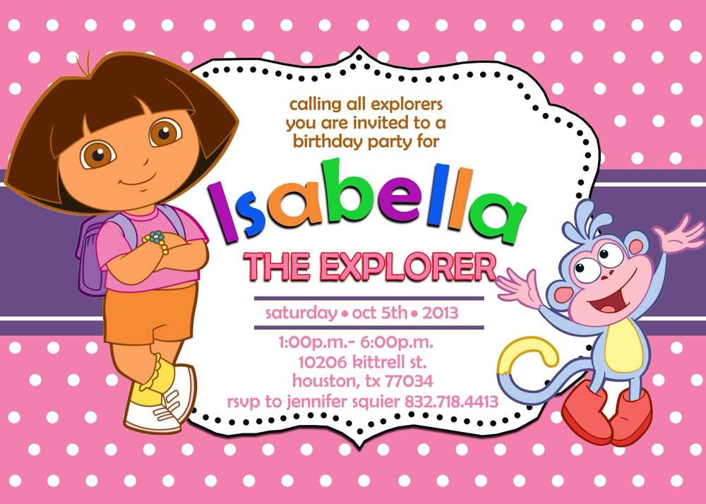 Dora the Explorer Birthday Party Ideas Photo 1 of 21 – Printable Dora Birthday Invitations