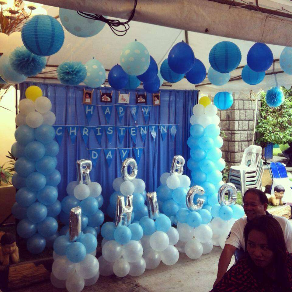 Baby boy blue baptism party ideas photo 5 of 5 catch for Baby welcome party decoration ideas