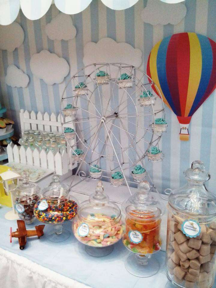 Hot Air Balloon Sky Baptism Party Ideas Photo 4 Of 11