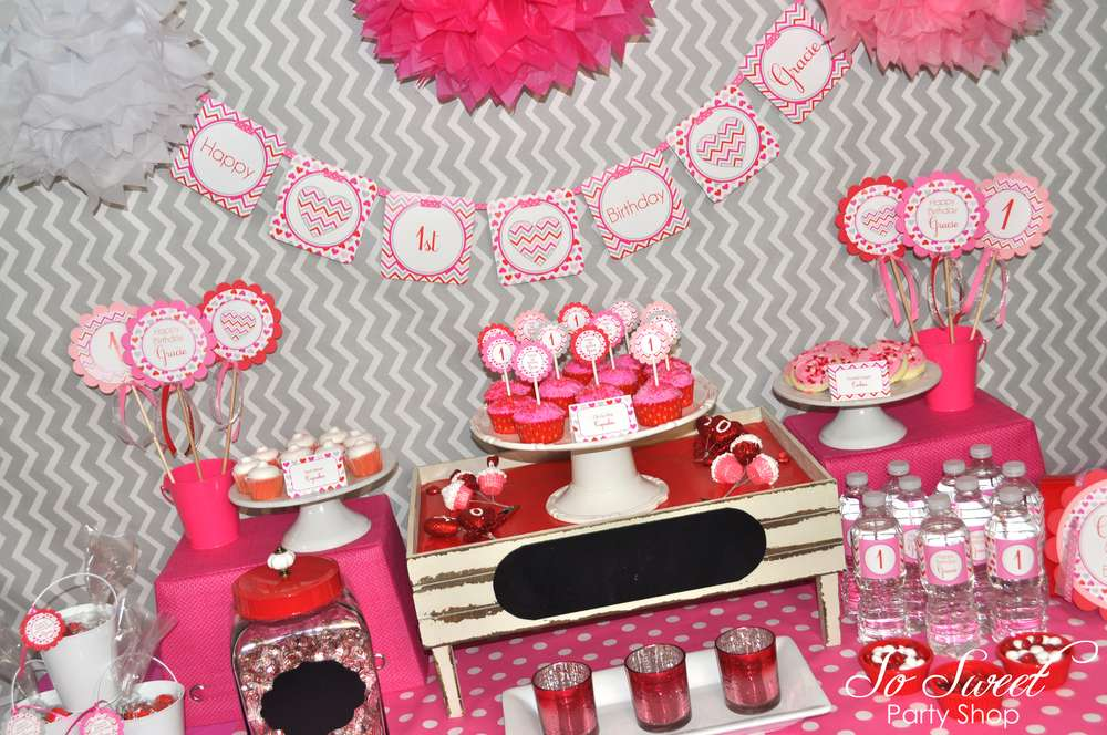 CHEVRON AND HEART VALENTINE BIRTHDAY PARTY