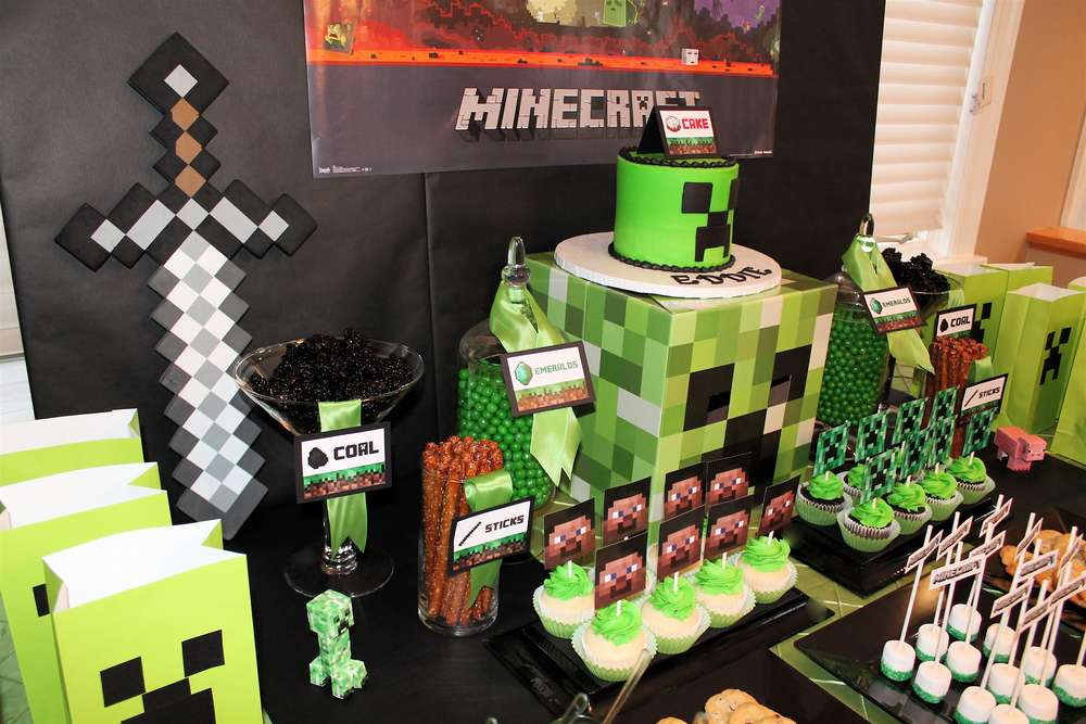 Minecraft Birthday Party Ideas Photo 2 Of 16 Catch My Party
