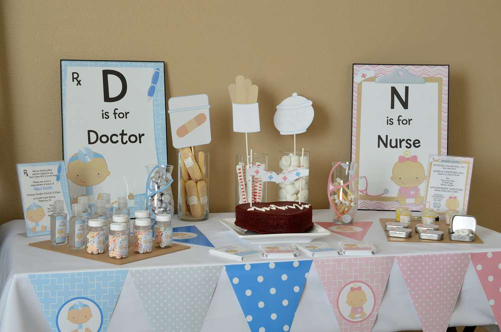 Little Doctor Little Nurse On The Way Baby Shower Party