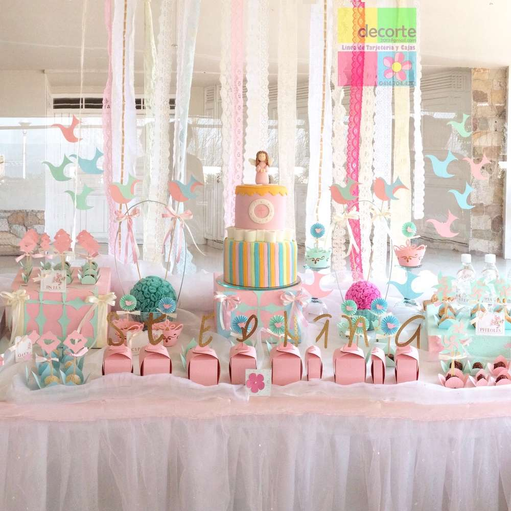 Shabby menta pink baptism party ideas photo 1 of 15 for Baby girl baptism decoration ideas