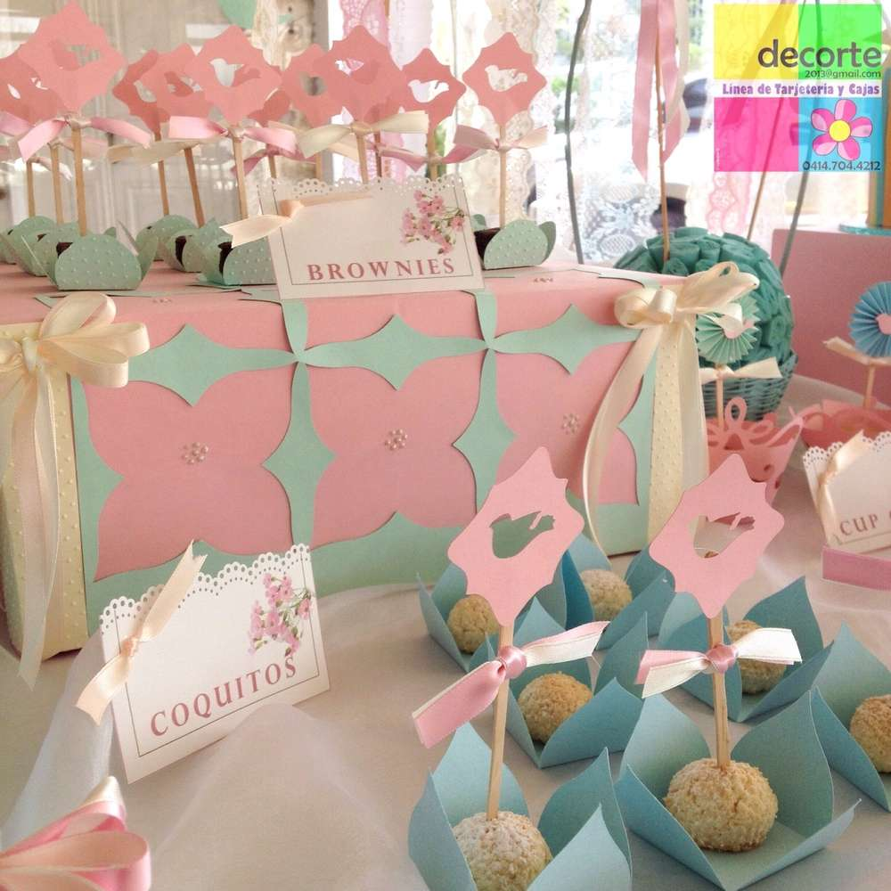 Shabby Menta Pink Baptism Party Ideas | Photo 4 of 15 | Catch My Party