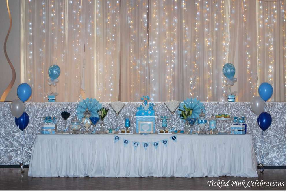 Blue White Christening Baptism Party Ideas Photo 6 Of 17 Catch