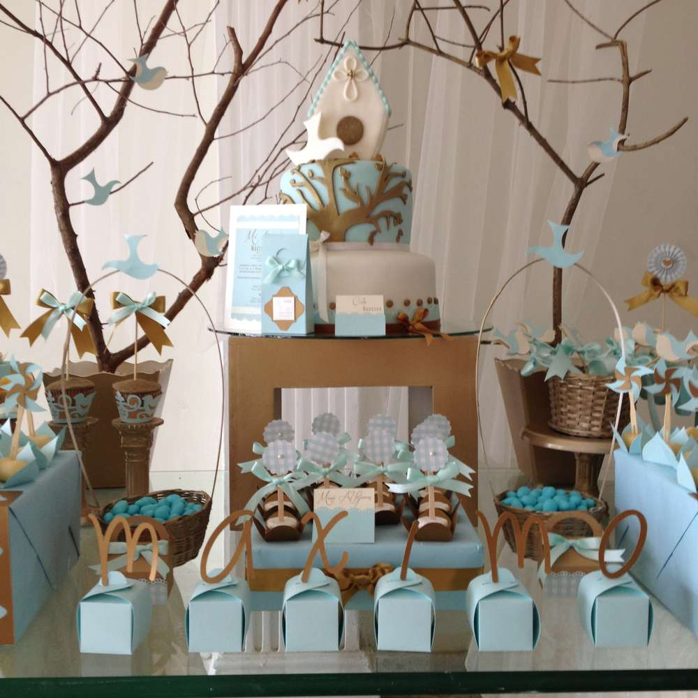 Vintage gold baptism party ideas photo 1 of 12 catch for Baby girl baptism decoration ideas