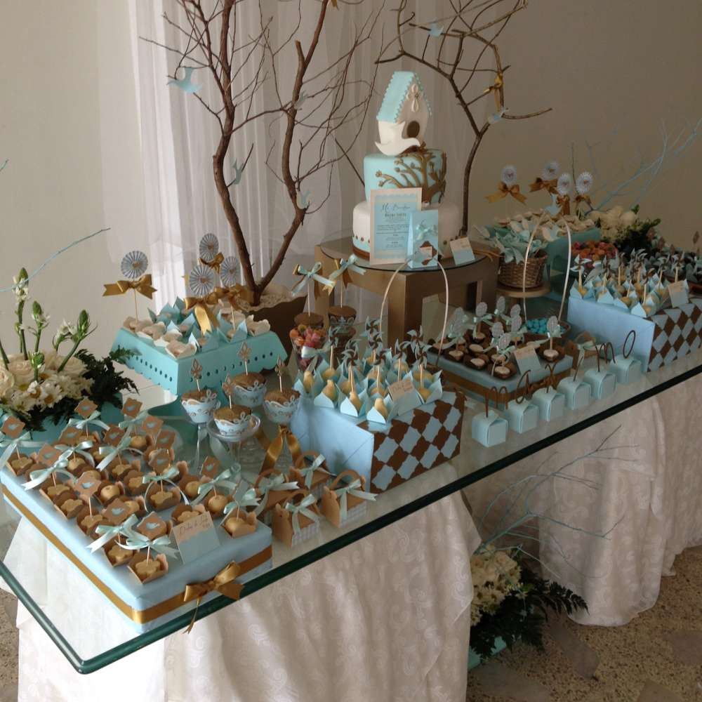 Vintage gold baptism party ideas photo 2 of 12 catch my party - Decorations for a baptism ...