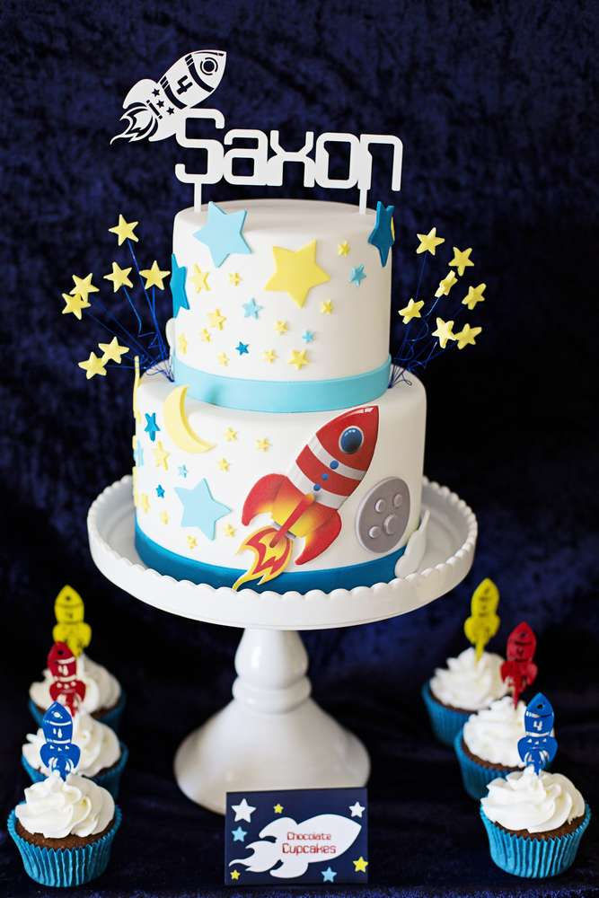 Rockets outer space birthday party ideas photo 5 of 10 for Cake decorations outer space