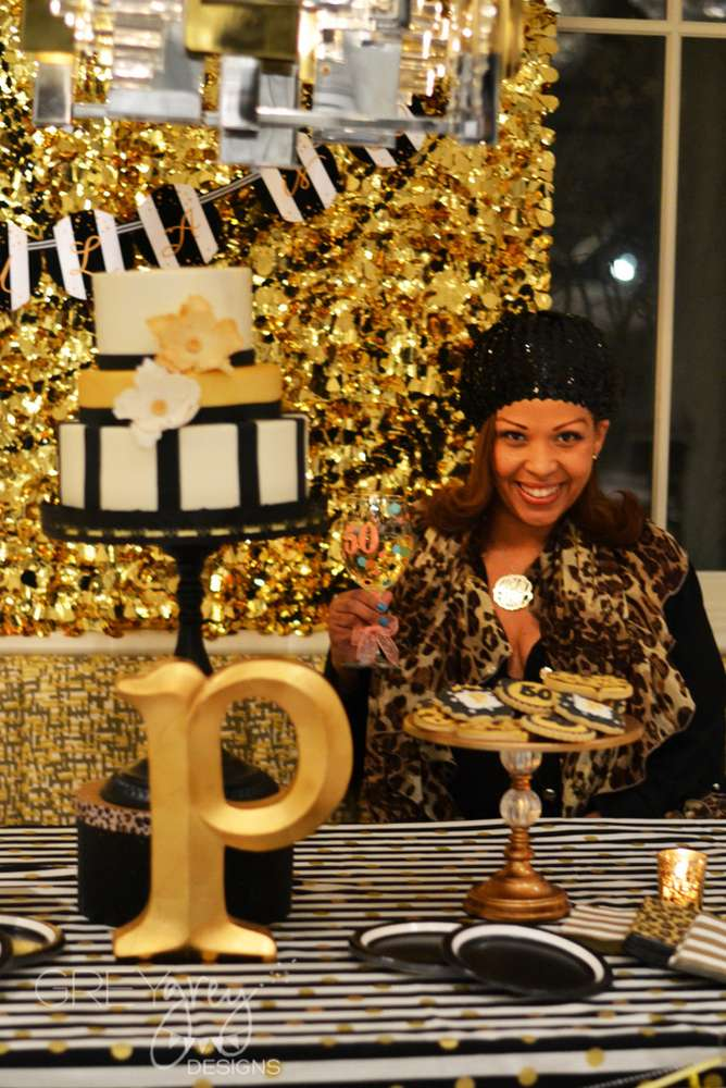 Glamorous Black And Gold 50th Birthday Party