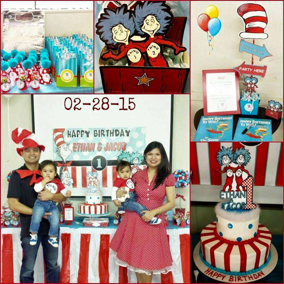 Dr Seuss Thing 1 2 Twin Boys First Birthday Party