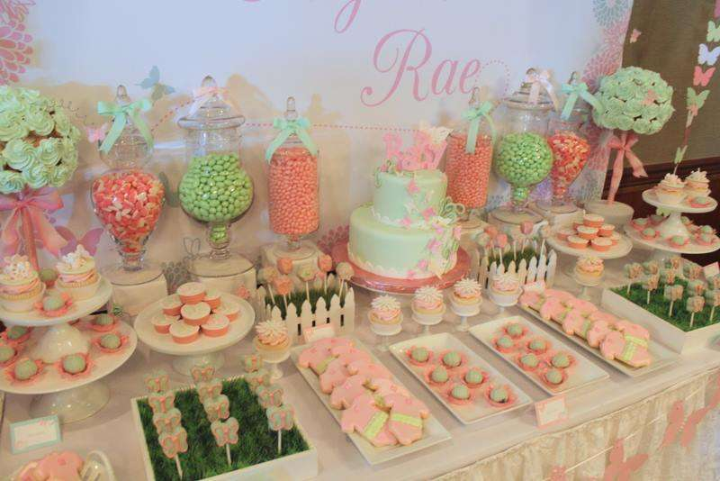 Pink Mint Butterfly Baby Shower Party Ideas Photo 9 Of 12