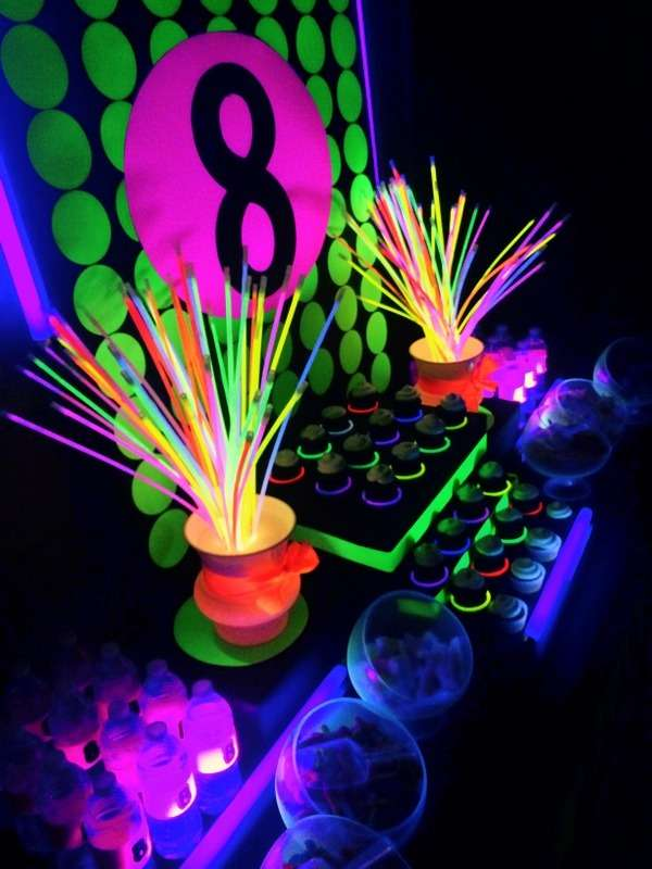 Neon glow in the dark birthday party ideas photo 4 of 9 catch my party for 13th floor glow stick
