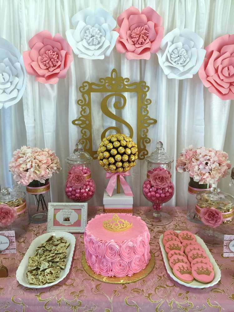 pink and gold baby shower baby shower party ideas photo. Black Bedroom Furniture Sets. Home Design Ideas