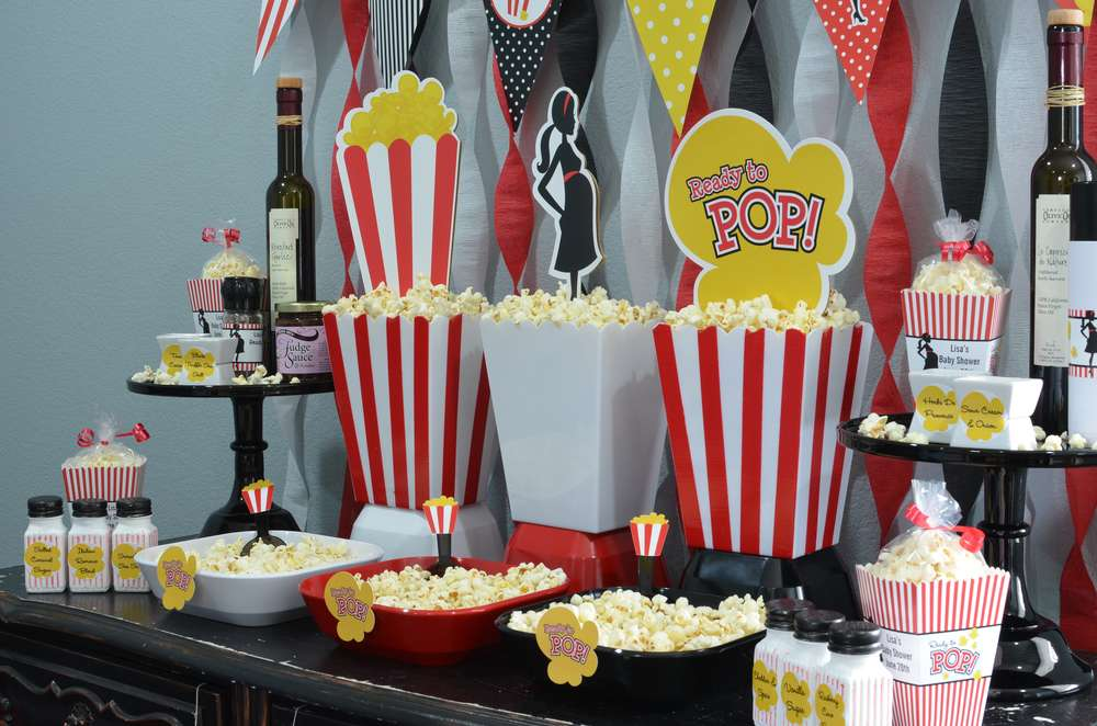 ready to pop popcorn bar baby shower party ideas
