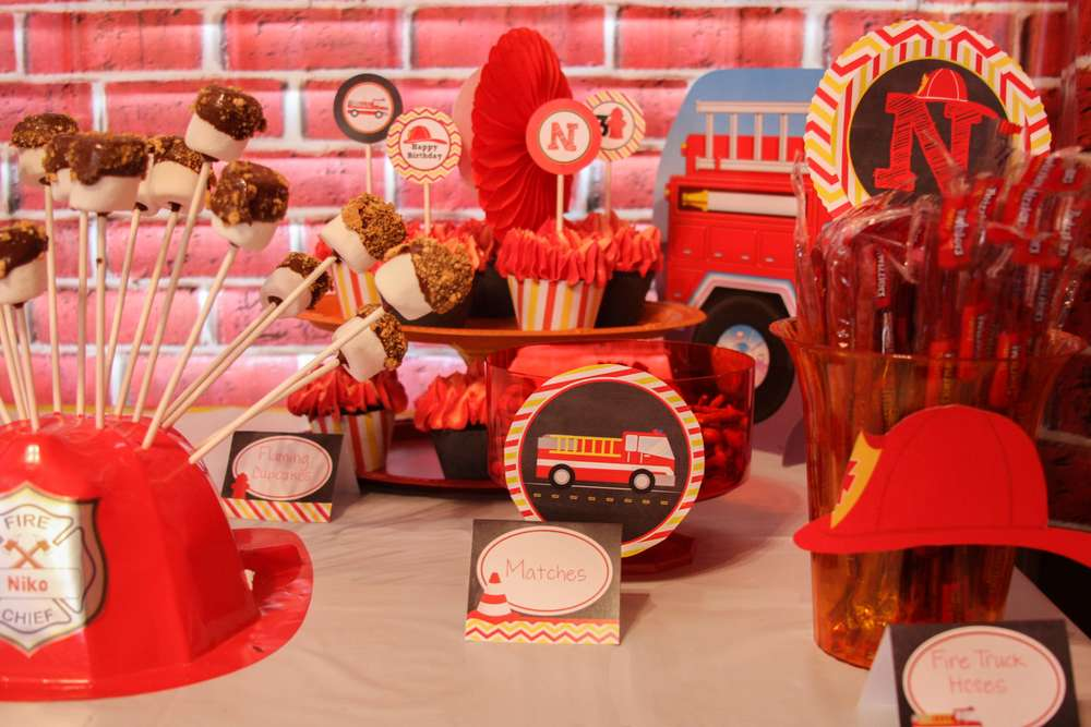 Fire truck firefighter birthday party ideas photo of