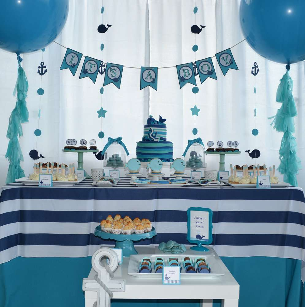 Whales Baby Shower Party Ideas Photo 2 Of 27 Catch My Party