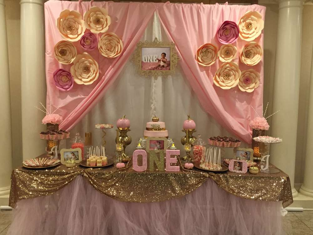 Pink gold birthday party ideas photo 1 of 11 catch for Home sweet home party decorations