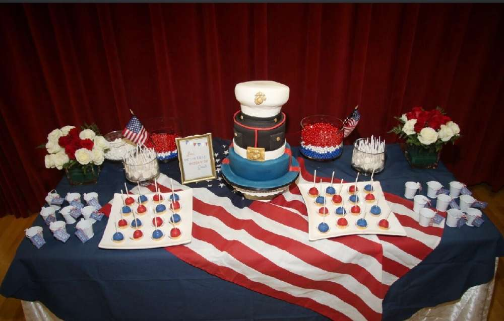 Usmc patriotic marinecorps patriotic welcome home party for Baby welcome party decoration ideas