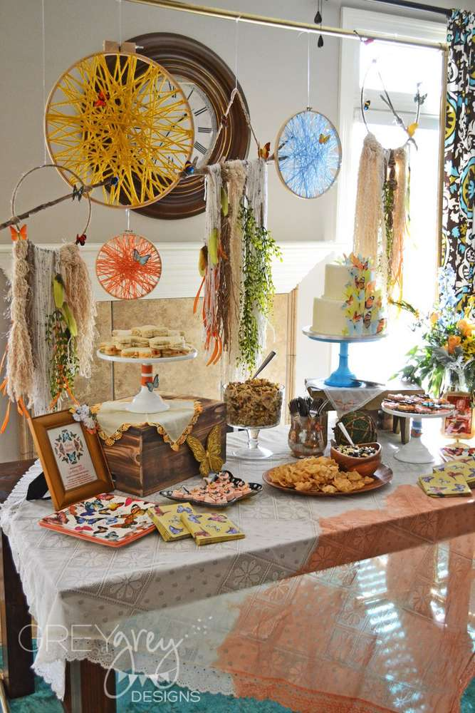 Boho Chic Butterfly Bohemian Vintage Baby Shower Party