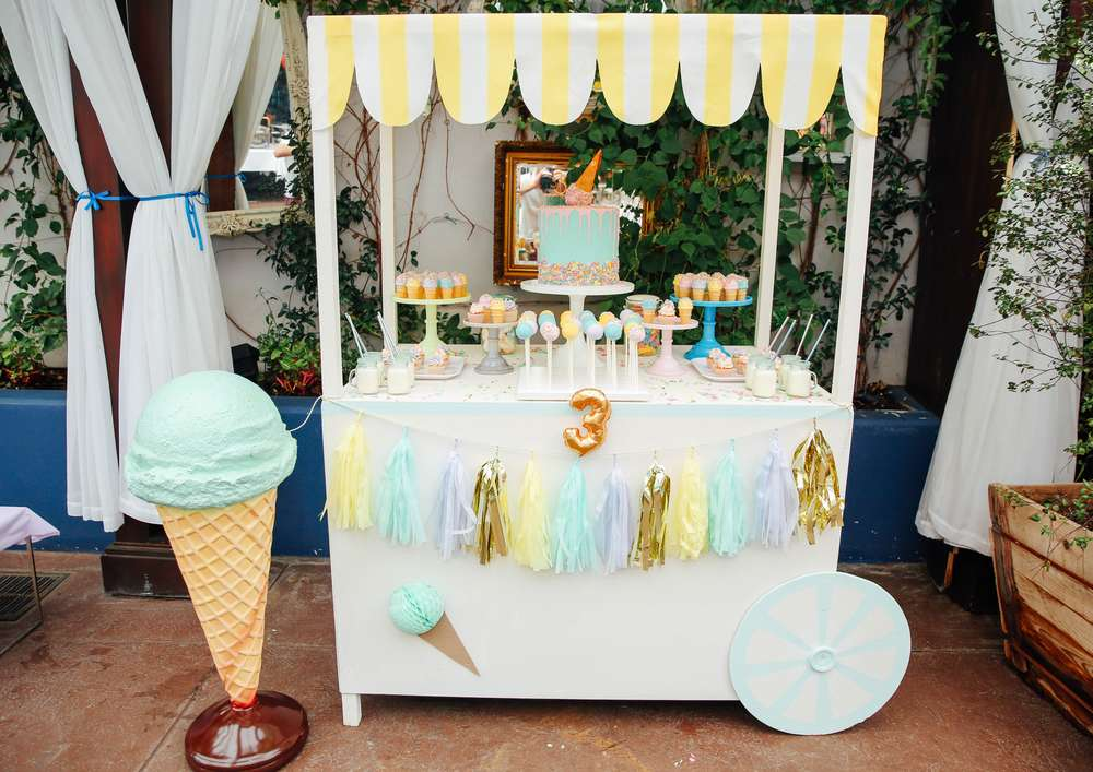 Ice Cream Theme Birthday Party Ideas Photo 2 Of 14 Catch My Party