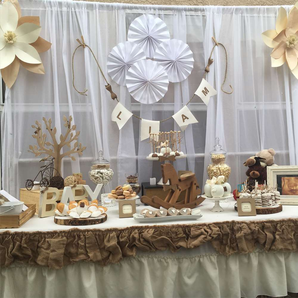 Rustic and vintage baby shower baby shower party ideas for Mesa cristal heaven