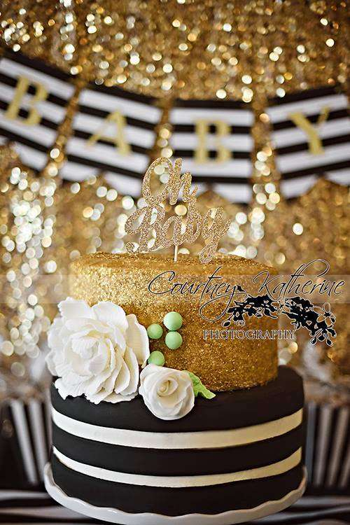 Black White Amp Gold Baby Shower Party Ideas Photo 9 Of