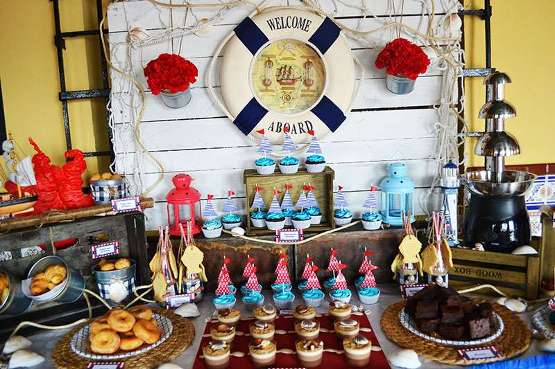 Navy birthday party ideas photo 5 of 9 catch my party for Mesa dulce marinera