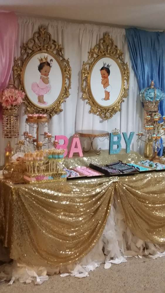 Prince and princess gender reveal party ideas photo 1 of for Baby shower decoration ideas for twin girls