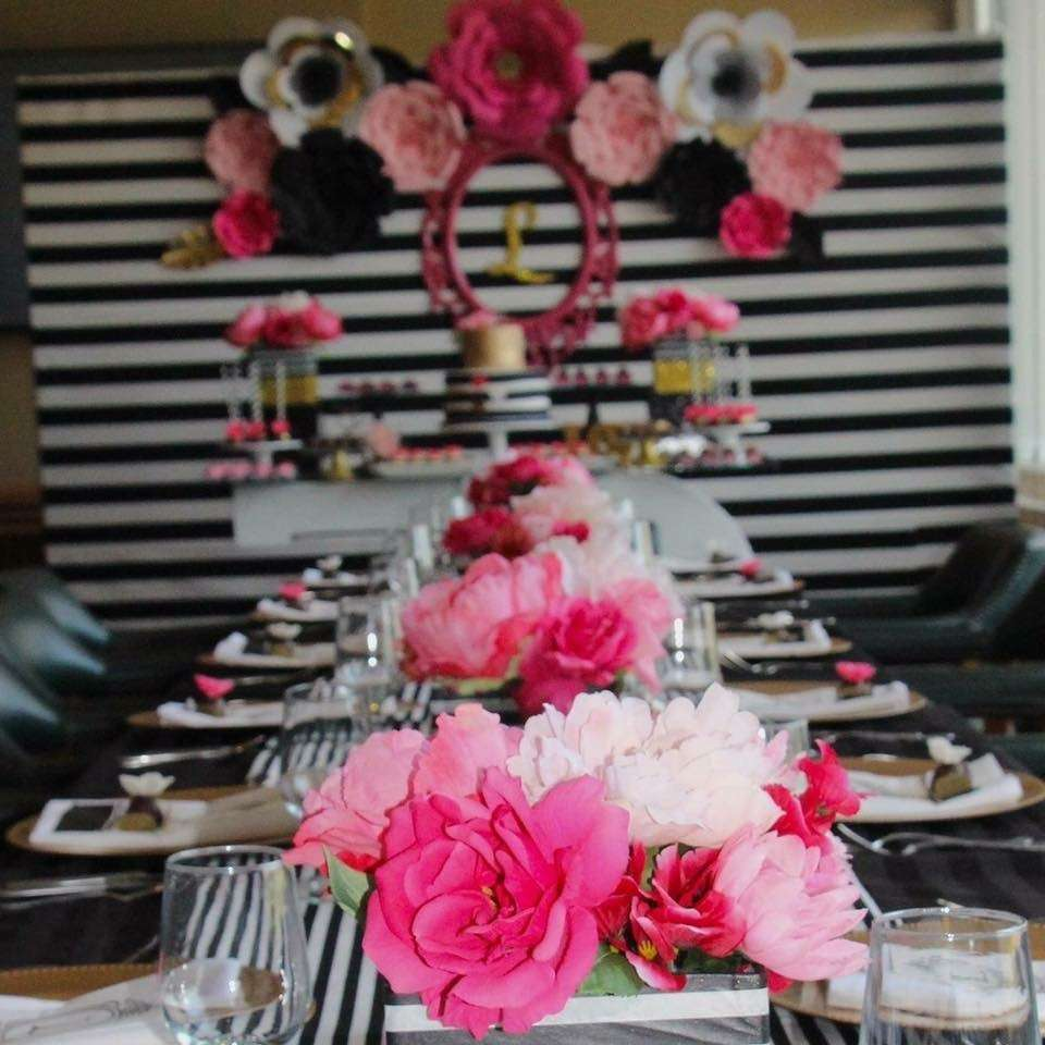 Black White Pink And A Little Golden Birthday Party Ideas Photo