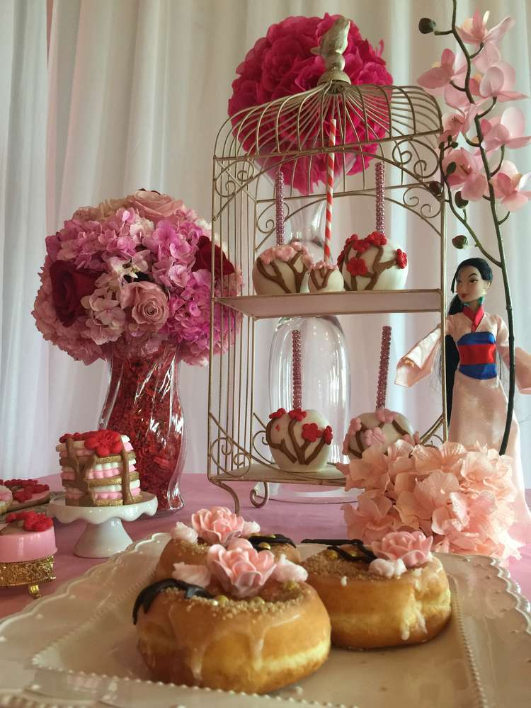 Mulan Cherry Blossom Chinese Birthday Party Ideas Photo