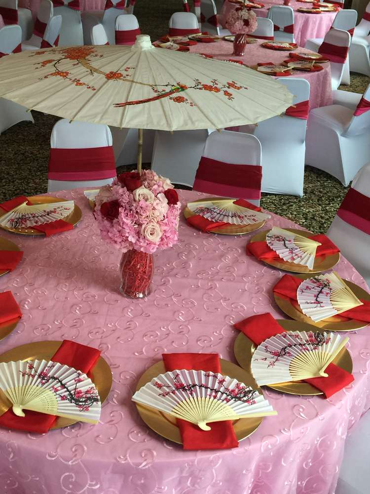 Mulan cherry blossom chinese birthday party ideas photo for Asian party decoration
