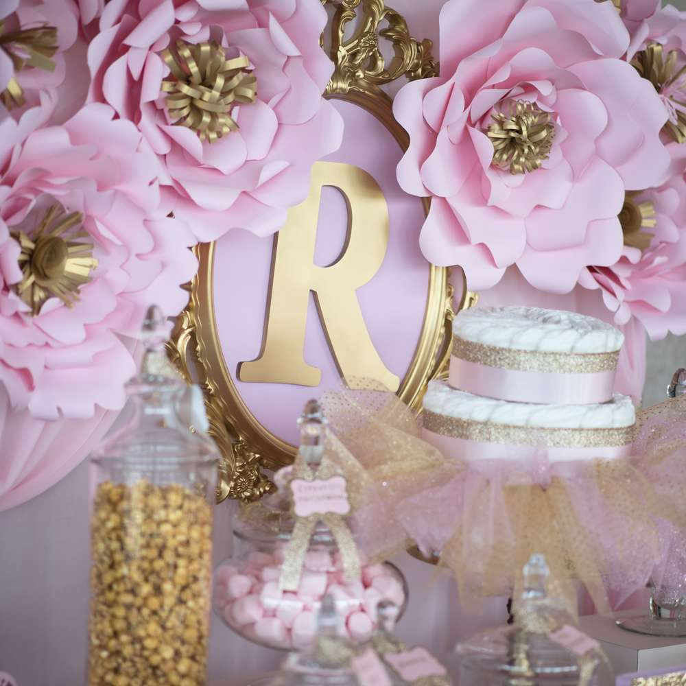 pink and gold baby shower - 1000×1000