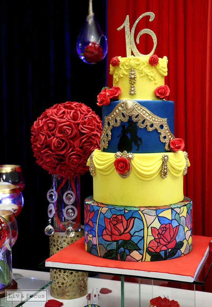 Belle Beauty and the Beast Quinceaera Party Ideas Photo 15 of