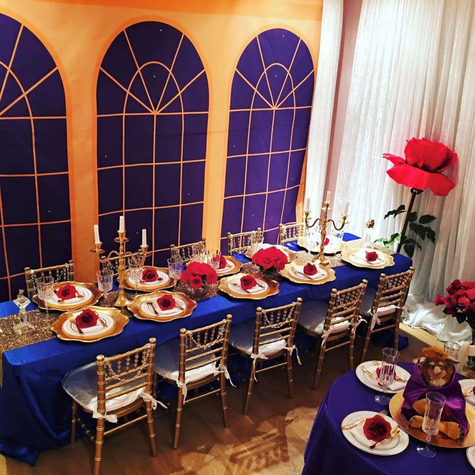 Belle beauty and the beast birthday party ideas photo for Beauty and the beast table and chairs