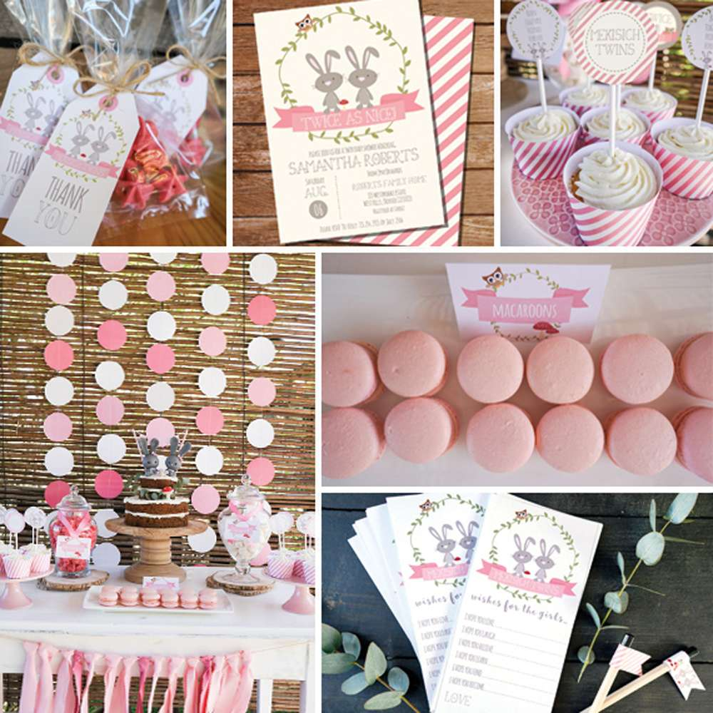 Twin Bunny Baby Shower - Girls Baby Shower Party Ideas | Photo 4 of ...