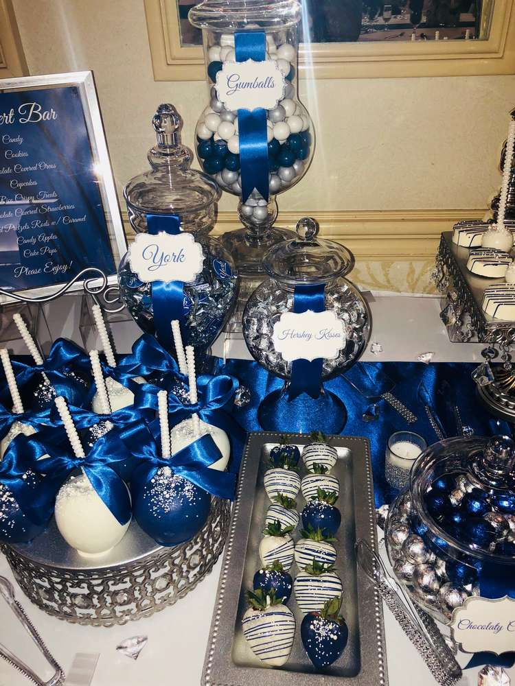 Royal Blue Silver And White Wedding Party Ideas Photo 2 Of 17
