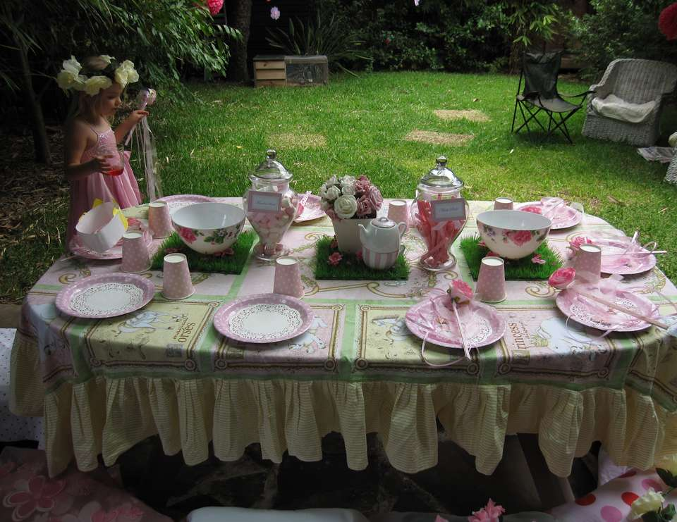Liliana's Garden Tea Party - Roses and butterflys in the garden.