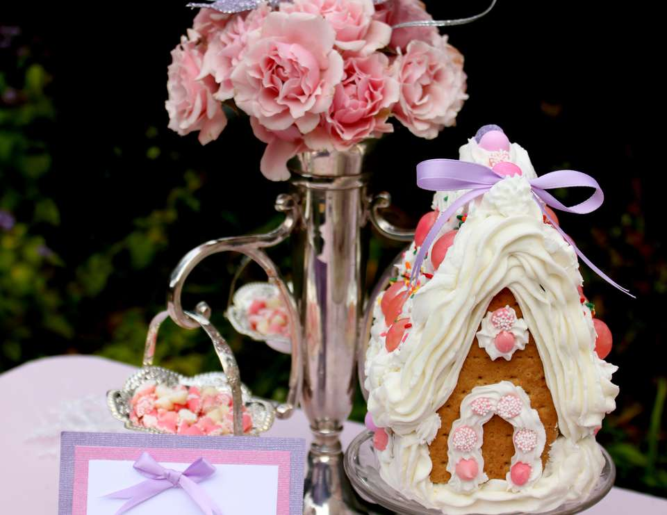 Pink Gingerbread House Tea Party - Gingerbread House Tea Party