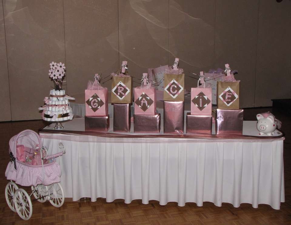The Wait for G - Pink and brown themed shower for a baby girl